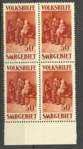 Saar,  1929 Semi-Postal  50 C. MNH Block of 4 , no faults