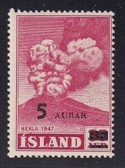 Iceland    #283   MNH    1954  Hekla  5a on 35a