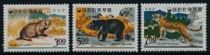 Korea 502-4 MNH Animals, Badger, Black Bear, Tiger