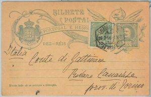 50858  - PORTUGAL -  POSTAL HISTORY - STATIONERY CARD to TORINO Italy 1906