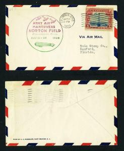 Army Air Maneuvers Cover, Norton Field, Columbis, Ohio dated 5-24-1929