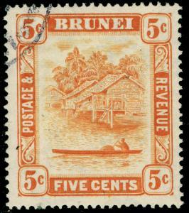 BRUNEI SG82b, 5c orange, FINE USED. Cat £21. PERF 14½X13½.