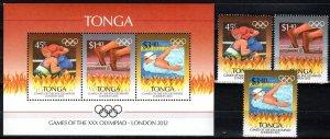Tonga #1185-7, 1187a  MNH CV $12.00 (Z9822)