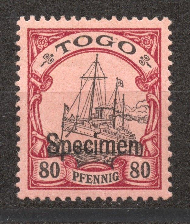 Togo 1900 Yacht 80 Pf. SPECIMEN overprint, mint, hinged