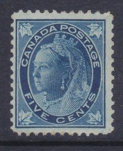 Canada 70 Mint OG 1897 5c Dark Blue Queen Victoria F-VF Scv $175.