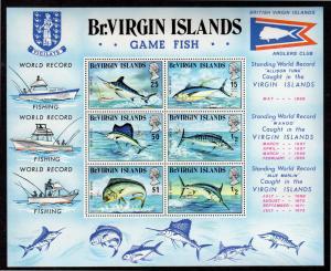 VIRGIN ISLANDS #248a  1972  GAME FISH        MINT VF NH O.G  S/S