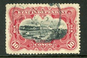 Belgian Congo 1900 10¢ Congo River Stanley Falls Carmine VFU Y201