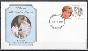Grenada, Scott cat. 2723a. Diana, The People`s Princess value. First Day Cover.^