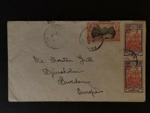 1927 Papeete Tahiti to Sweden Cabouret Advertising Cover