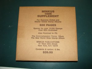 1986 Minkus Supreme Global Stamp Album Pages Supplement Unused complete A-Z