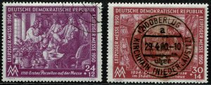 GERMANY DDR 1950 LEIPZIG SPRING FAIR SET USED (VFU) P.13.5 SG E7-E8 SUPERB