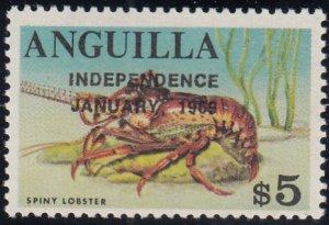 Anguilla 1969 MNH Sc #67 Overprint on $5 Spiny lobster Variety