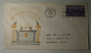 US FDC Sc# 835 Cachet Craft Cover Philadelphia PA 1938 Liberty Constitution