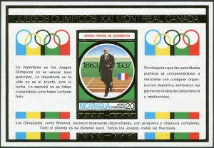Nicaragua Michel 1899 Bl.88,MNH. Olympics Montreal-1976.Pierre de Coubertin.