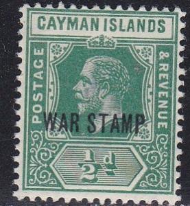 Cayman Islands # MR5, War Tax Stamp, NH