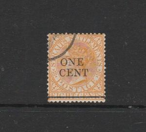 Straits Settlements 1892 Opt 1c on 8c Orange FU/CTO SG 91