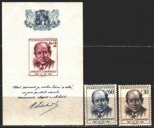 Czechoslovakia. 1954. 887-88, bl15. Zapototsky, President of Czechoslovakia. ...