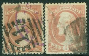 USA : 1879. Scott #208. 2 Very Fine, Used stamps. Both Fresh. Catalog $220.00.