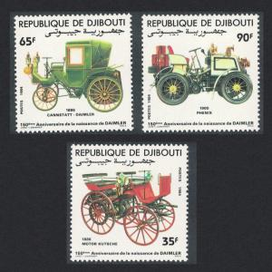 Djibouti 150th Birth Anniversary of Gottlieb Daimler automobile designer 3v