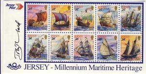 Jersey Maritime Heritage Leaflet signed by the designer Tony Theobald