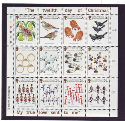 Guernsey Sc 307 1984 12 Days of Christmas stamp sheet mint NH