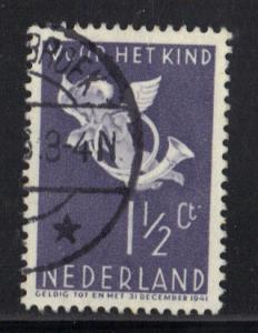 Netherlands  1936 used Child Welfare 1 1/2 + 1 1/2 ct    #