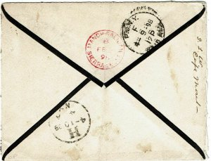 Sierra Leone 1898 Mano Salija cancel in red on reverse mourning cover to U.S.