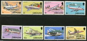 GIBRALTAR Sc#416-430 1982 Airplanes Mint NH Complete
