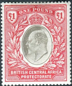BRITISH CENTRAL AFRICA-1903-4 £1 Grey & Carmine. A mounted mint example Sg 66