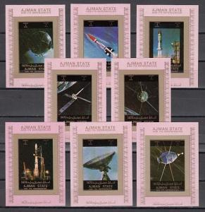Ajman, Mi cat. 2781-2788 C. Space Exploration, Pink IMPERF small s/sheets. ^