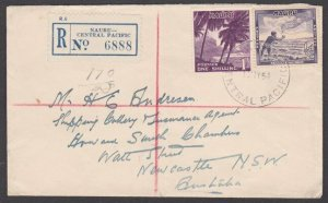 NAURU 1954 1/½d rate registered cover to Sydney -...........................M591