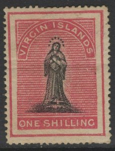VIRGIN ISLANDS SG14b 1867 1/= BLACK & ROSE-CARMINE(TONED PAPER) MTD MINT