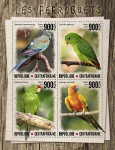 C A R - 2019 - Parrots - Perf 4v Sheet  - M N H
