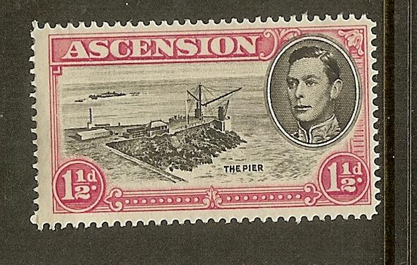Ascension, Scott #42Cd, 1 1/2p King George VI, P14, MH