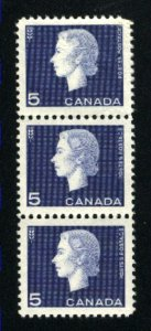 Canada #405   strip of 3   Mint NH VF 1962   PD