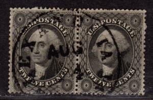 $ US SC#36 used, fine-VF, pair, SON CDS, sound stamp!, CV. $750