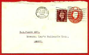 ES61 KGVI 1d Carmine Stamped to Order Envelope uprated