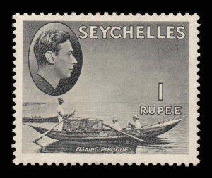 Seychelles 1938 KGVI 1R grey-black chalk paper SG 146a mint CV £75