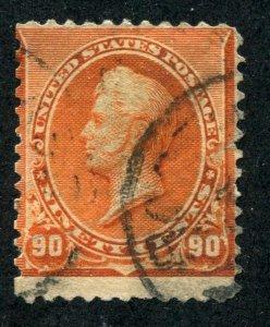 Scott #229    90c  Perry  Orange  Banknote issue F-VF CV $175 ⭐⭐⭐⭐⭐⭐