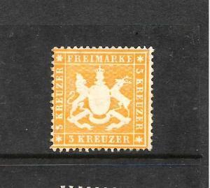 WURTTEMBERG  1859-62  3k    ORANGE   MHH   P13 1/2    SG 32