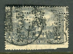 GERMANY; 1906-11 early High value used 3M. + PERFIN Shifted design