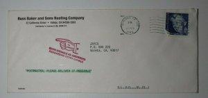US Postal Marking Cover 1985 Undeliverable Return to Sender Pointer Forwarding