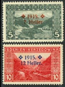BOSNIA AND HERZEGOVINA 1915 SEMI POSTAL Set Sc B3-B4 MH