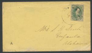 CSA #1 ON COVER 4 MGNS FROM WARRINGTON, FL TO EUFAULA, AL CDS RARE USAGE WL3854
