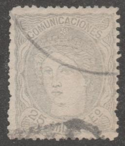 Spain stamp, used,Scott# 165, lady, silver,   #M400