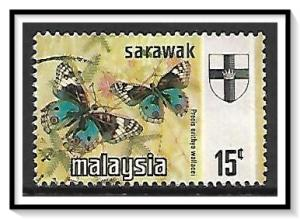 Sarawak #240 State Crest & Butterflies Used