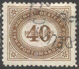 AUSTRIA 1899  Sc J32 40h Postage Due Used VF, light cancel
