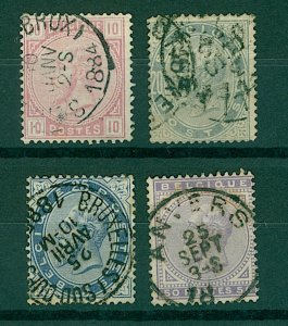 Belgium 1883 portrait issues with new colours and frames 10c to 50c sg FU Stamps