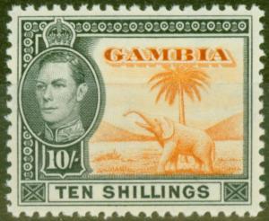 Gambia 1938 10s Orange & Black SG161 V.F MNH