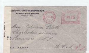 buenos aires 1942   to u.s. censor  air mail stamps cover ref r15486